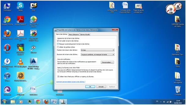 barre de tache windows 7
