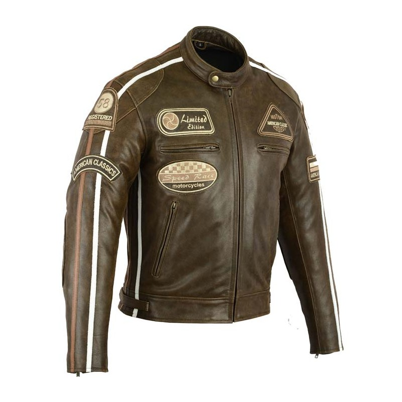 blouson moto cuir vintage homme