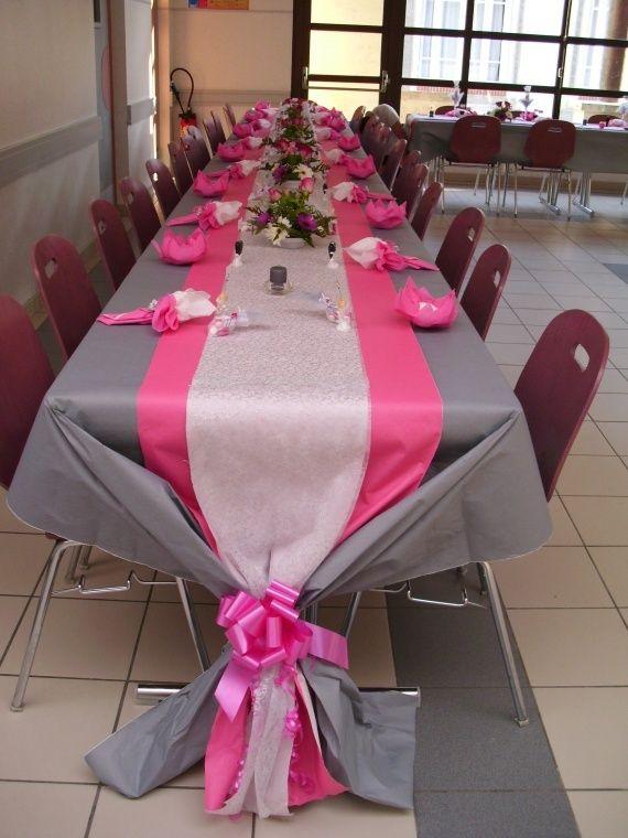 décoration de table mariage gris argenté et fushia